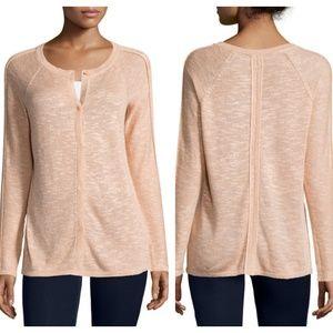 LAFAYETTE 148 Linen Cardigan Sweater Peach {BB2}